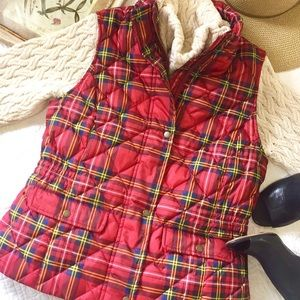 Talbots red tartan plaid puffer vest
